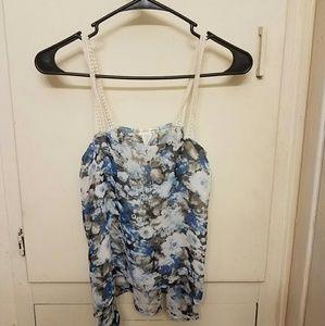 Agaci Blue Floral Sheer Tank